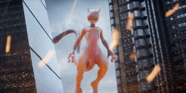 every live action pokemon in the new detective pikachu trailerj mewtwo
